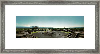 Elevated View Of Teotihuacan Pyramids Framed Print