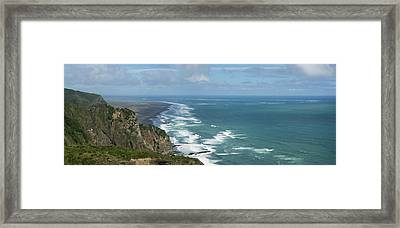 Elevated View Of The Coastal Beach Framed Print by Panoramic Images
