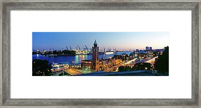 Elevated View Of The St. Pauli Piers Framed Print