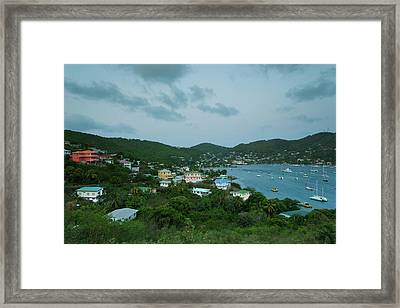 Elevated View Of Town From Hamilton Framed Print