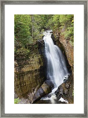 Elevated View Of Waterfall, Miners Framed Print