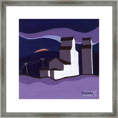 Framed Print featuring the painting Elevators At Night by Joyce Gebauer