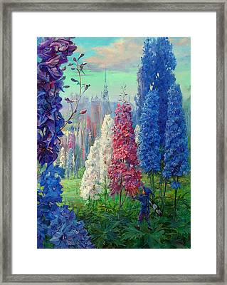 Elf And Fantastic Flowers Framed Print