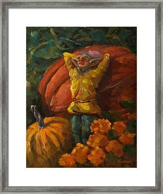 Elf In The Pumpkin Patch Framed Print