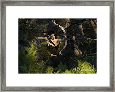 Elf Ranger In Woods Hunting Framed Print