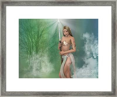 Elf Sorceress With Staff Framed Print by Elle Arden Walby