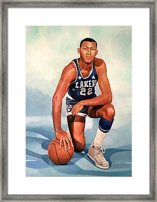 Elgin Baylor - Los Angeles Lakers Framed Print by Michael  Pattison