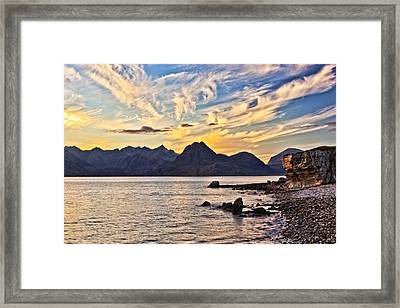 Elgol Beach At Sunset Framed Print by Marcia Colelli
