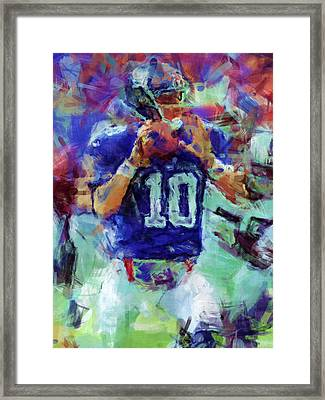 Eli Manning Abstract 1 Framed Print