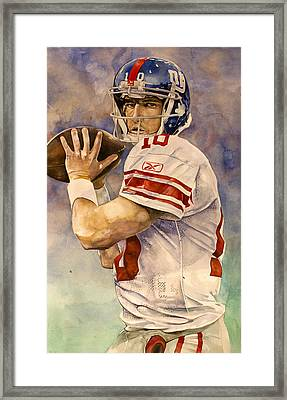 Eli Manning Framed Print by Michael  Pattison