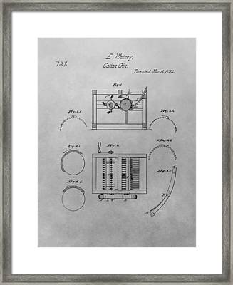 Eli Whitney Cotton Gin Patent Drawing Framed Print by Dan Sproul