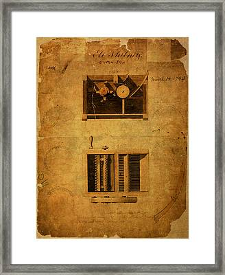 Eli Whitney Cotton Gin Patent Vintage On Worn Canvas Framed Print by Design Turnpike