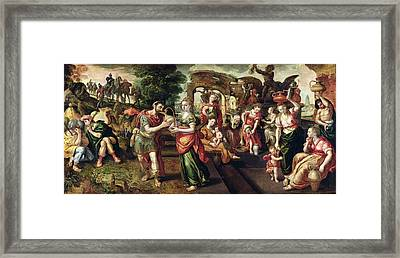 Eliezer And Rebecca At The Well, 1562 Oil On Panel Framed Print by Maarten de Vos