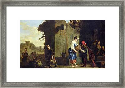 Eliezer And Rebecca At The Well, 1660 Oil On Canvas Framed Print by Salomon de Bray