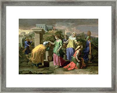Eliezer And Rebecca At The Well Framed Print by Nicolas Poussin