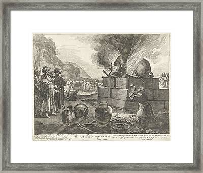 Elijah And The Prophets Of Bael, Pieter Nolpe Framed Print by Pieter Nolpe And Claes Jansz. Visscher Ii