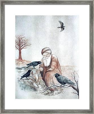 Elijah Fed By Ravens Framed Print by Cati Simon