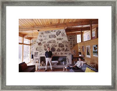 Eliot And Molly Noyes At Their Ski Cabin 1964 Framed Print