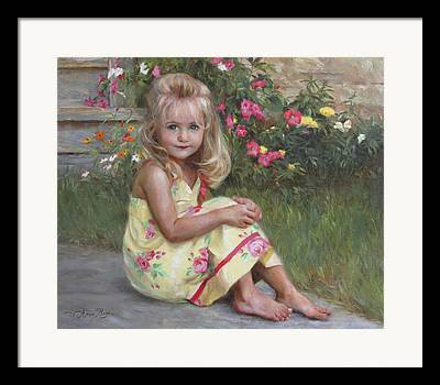 Child With Flowers Framed Prints