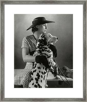 Elizabeth Blair With A Dalmatian Framed Print by Edward Steichen