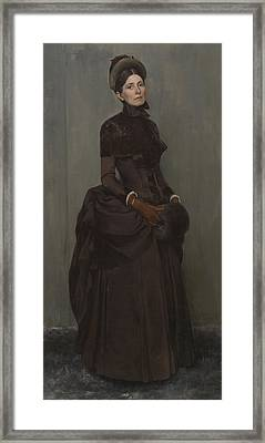 Elizabeth Boott Duveneck Oil On Canvas Framed Print by Frank Duveneck
