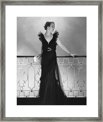 Elizabeth Harben Wearing A Lelong Dress Framed Print by Edward Steichen
