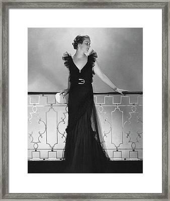 Elizabeth Harben Wearing A Lelong Dress Framed Print