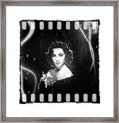 Elizabeth Taylor - Black And White Film Framed Print by Absinthe Art By Michelle LeAnn Scott