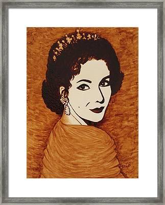 Elizabeth Taylor Original Coffee Painting On Paper Framed Print by Georgeta  Blanaru