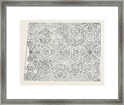 Elizabethan Ceiling At The Red Lion Inn Framed Print by English School