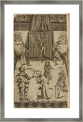 Elizabethan Figures On A Stage Framed Print by British Library