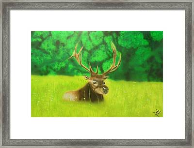 Elk In The Distance Framed Print by Michael Hall