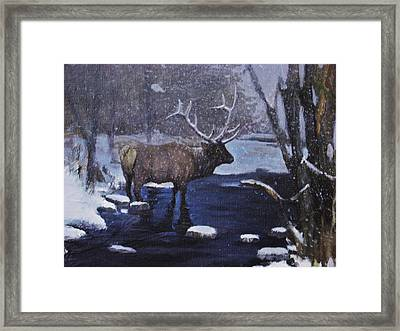 Framed Print featuring the painting Elk In The Wilderness by Noe Peralez