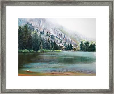 Elk Lake Mist Framed Print