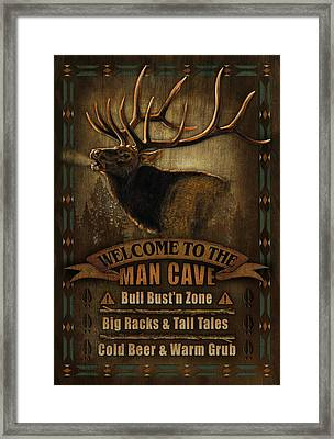Elk Man Cave Sign Framed Print