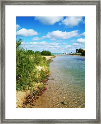 Elk River With Fluffy Clouds Framed Print by Michelle Calkins