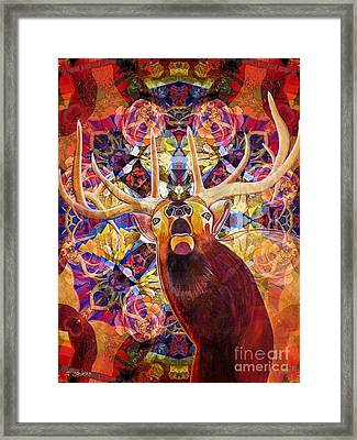 Framed Print featuring the painting Elk Spirits In The Garden by Joseph J Stevens