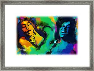 Framed Print featuring the painting Ella And Sara by Ted Azriel