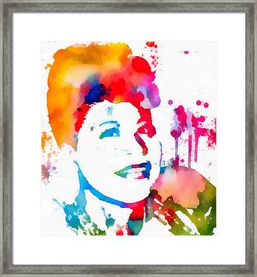 Ella Fitzgerald Paint Splatter Framed Print by Dan Sproul