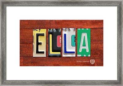 Ella License Plate Name Sign Fun Kid Room Decor. Framed Print