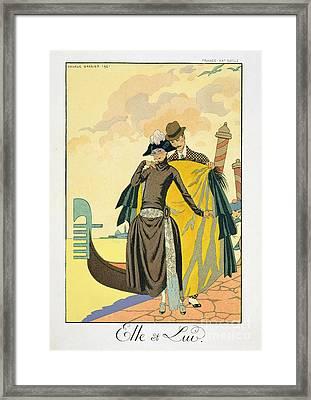 Elle Et Lui Framed Print by Georges Barbier