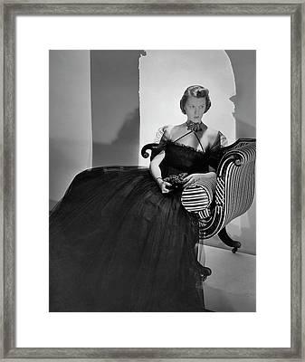 Ellen Astor Wearing A Tulle Dress Framed Print