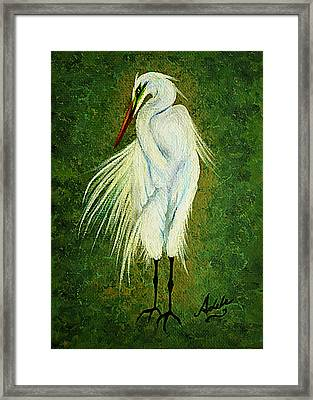 Ellie Egret Framed Print by Adele Moscaritolo