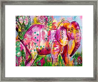 Ellie The Elephant Framed Print by Kim Heil