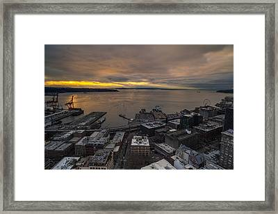 Elliott Bay Seattle Evening Framed Print by Mike Reid