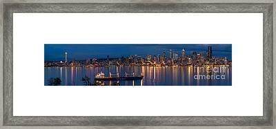 Elliott Bay Seattle Skyline Night Reflections  Framed Print by Mike Reid