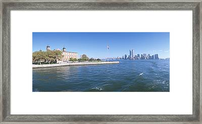 Ellis Island, Manhattan Skyline, New Framed Print by Panoramic Images