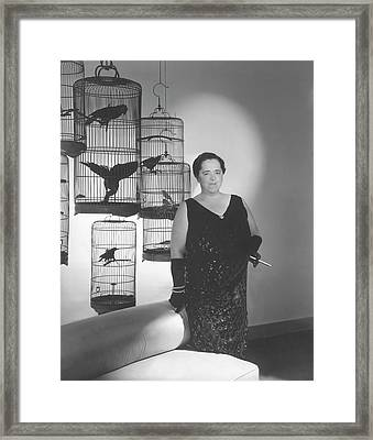 Elsa Maxwell Posing In Front Of Bird Cages Framed Print