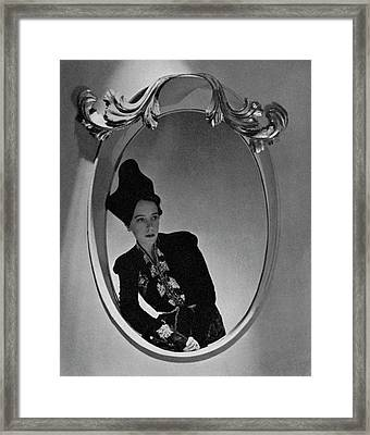 Elsa Schiaparelli Reflected In A Mirror Framed Print by Horst P. Horst