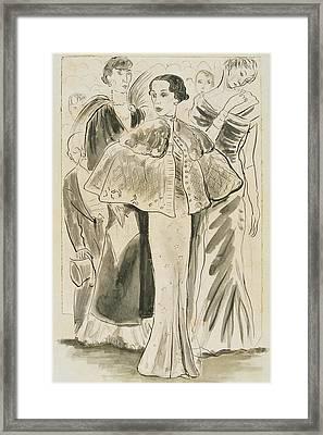 Elsa Schiaparelli Wearing A Cape Framed Print